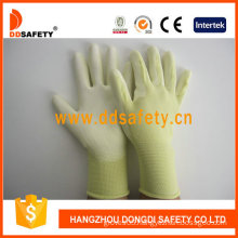 Yellow Nylon PU Dipping Safety Gloves -Dpu163